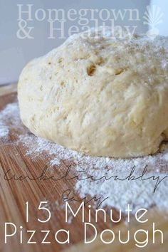 This pizza dough is so unbelievably easy to make, it's our staple go to: yeast, honey, flour, olive oil and salt + 15 minutes. I used half wheat flour half AP flour. I also added Oregano and garlic to crust. Just as Yummy Pizza Recipes, Real Food Recipes, Cooking Recipes, Yummy Food, Easy Recipes, Tasty, Quick Pizza, Four A Pizza, Sandwiches