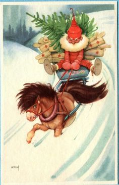 X1929 Swedish postcard of Santa driving pony in the snow [Reversal of image show…
