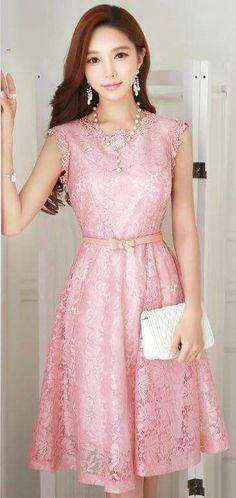 StyleOnme_StyleOnme_Floral Lace Ribbon Belt Sleeveless Flared Dress Source by mercedesgoytort clothing Jw Fashion, Asian Fashion, Modest Fashion, Fashion Dresses, Womens Fashion, Pretty Dresses, Beautiful Dresses, Jw Mode, Dress Skirt