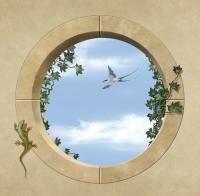 Round window opening Window Mural, Door Murals, Mural Wall Art, Faux Painting, Mural Painting, Ceiling Art, Wall Art Designs, Home Art, Art Decor