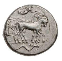 Tetradracma - agento - Siracusa, Sicilia (474-450 a.C.) - quadriga al passo vs.dx. con Nike in volo, in basso Pistrice -| Museum of Fine Arts, Boston