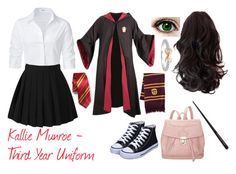 A fashion look from April 2017 featuring slim fit button down shirts, deluxe halloween costumes and black trainers. Browse and shop related looks. Harry Potter Dress, Harry Potter Style, Harry Potter Outfits, Cute Nerd Outfits, Hogwarts Uniform, Movie Inspired Outfits, Teen Fashion Outfits, Polyvore Outfits, Clothes For Women