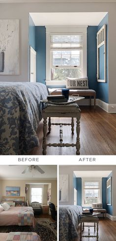 When it comes to before and after pictures, we're loving this farmhouse-chic DIY bedroom makeover fr Bedroom Makeover Before And After, Master Bedroom Makeover, New Paint Colors, Bedroom Paint Colors, Bedroom Wall, Diy Bedroom, Behr Colors, Red Rooms, Living Room Paint