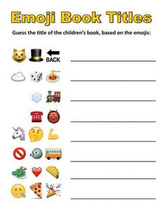 Emoji Book Titles   From awesome youth services librarian Peter Blenski, shared on his new idea-filled blog legolibrarian.com