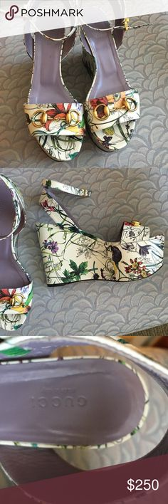 Gucci platform sandals 38.5 Uber comfortable Authentic Gucci platform wedge floral sandals -dust bag and box included. Gently worn -absolutely perfect for both day and evening - wear with shorts, a dress, or jeans ! 8.5 / 38.5. Paid retail $895. Gucci Shoes Platforms