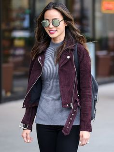 Tuesday, March 22, 2016 Jamie Chung looks stylish for a day out in Vancouver- this jacket style was called a hipster jacket in the 1970's and it still looks great in 2016
