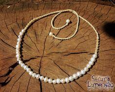 Colar Macramê Pérolas de Água Doce #macrame #macramê #colar #necklace #pérola #de #água #doce #freshwater #pearl