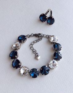Classy 2 Piece Swarovski 12mm Crystal Bracelet & Earring Set -  Sabika Inspired - Montana ( Navy) Blue with Radiant Clear Crystal