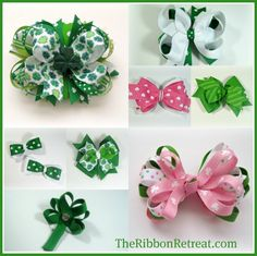 Tutorials on how to make several different styles bows: LOVE THE ST PATTY'S DAY!