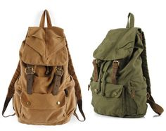 Men's Vintage Canvas Leather Hiking Travel Military Backpack Messenger Tote Bag. Love the green one!
