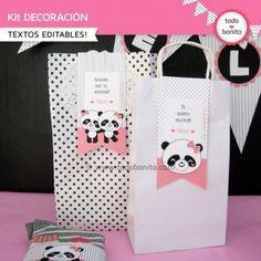 toppers y wrappers Panda Baby Showers, Panda Decorations, Panda Craft, Panda Birthday, Panda Party, Fairy Jars, Panda Love, Backdrops For Parties, First Birthdays