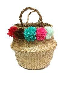 Sea Grass Belly Basket, natural with pink, green & brown Pom Pom  Rice Basket, storage and planter basket