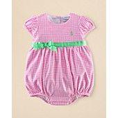 Ralph Lauren Childrenswear Infant Girls' Gingham Shortall - Sizes 3-12 Months