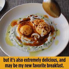 Turkish Eggs (Cilbir) Recipe - Breakfast and Brunch Recipes - Turkish Brunch Recipes, Breakfast Recipes, Breakfast Casserole, Breakfast Party, Food Bakery, Turkish Eggs, Turkish Breakfast, Cooking Recipes, Healthy Recipes