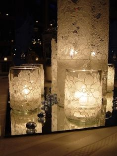 Lace wrapped around a plain glass candle holde by mandy