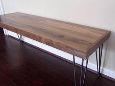 Modern Walnut Bench with Hairpin Legs Wood by BigelowFurnitureCo