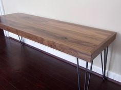 Modern Walnut Bench with Hairpin Legs Wood by BigelowFurnitureCo
