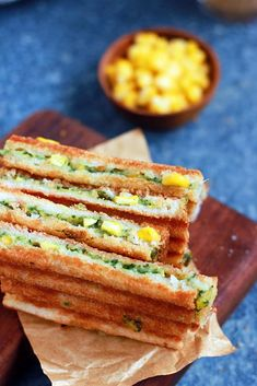 Spinach corn sandwich recipe with step by step photos. learn how to make grilled corn and spinach sandwich with cheese with this easy recipe Wrap Recipes, Indian Food Recipes, Real Food Recipes, Cooking Recipes, Corn Recipes, Corn Sandwich, Sandwich Recipes, Healthy Sandwiches, Wrap Sandwiches