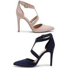 High heels with pointed toe, t-strap shape and adjustable ankle closure