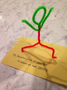 "Use pipe cleaners to recreate poses and how they make us feel. Kids can decorate the ""yoga mat"" with crayons."