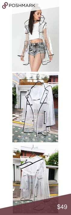 Clear High Fashion Raincoat Super unique raincoat featured in high fashion magazines/runway shows. Outlined in black, the raincoat features a hoodie and comes in its own plastic bag for easy maneuvering. Jackets & Coats Pea Coats