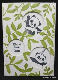 Encore des petits panda St Patricks Day Cards, Panda Party, Homemade Greeting Cards, Diy Christmas Cards, Vintage Scrapbook, Animal Cards, Box Frames, Scrapbook Supplies, My Stamp