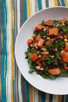 Black Bean & Kale Salad with Lime Vinaigrette #vegan