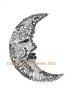 Crescent Moon Word Art Calligram Moon Art by CalligramORama, $18.50