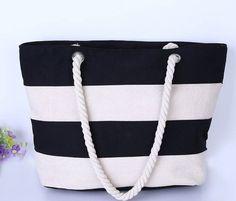 Beach Handbag Casual Canvas Striped Shoulder Bag Large Shopping Bag