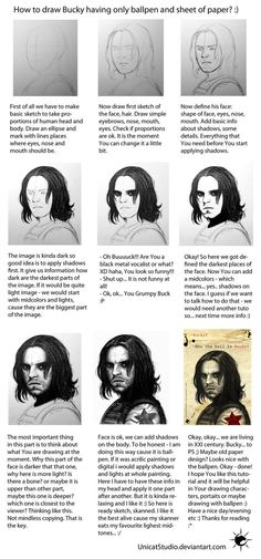 How to draw Bucky with ballpen by UnicatStudio on deviantART