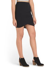 image of Juniors Ruched Side Knit Skirt