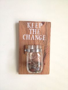 KEEP THE CHANGE Laundry room decor by shoponelove on Etsy.diy with black lettering to match blackboard and counter Do It Yourself Home, My New Room, First Home, Home Organization, Home Projects, Home Improvement, Sweet Home, Room Decor, Diy Crafts