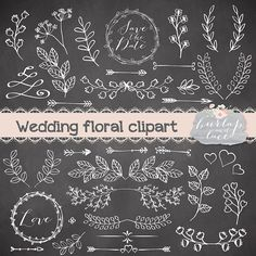 Rustic Wedding Clipart Lace Hand Drawn