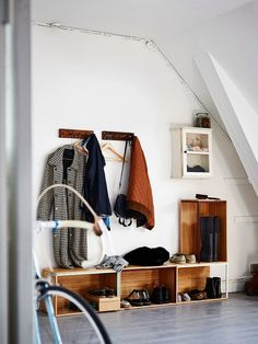 I think it would be great to have an area for hanging coats between the kitchen and my bedroom.
