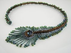 Peacock feather necklace, one of a kind seed beads necklace, green blue, torc necklace, handcrafted jewelry, 7PM boutique. via Etsy.