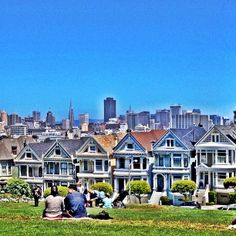 Post-shopping collapse at Alamo Square