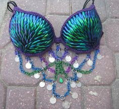 ONLY ONE - The Most Unique Belly Dancer Top on Etsy- Shimmering Iridescent Jewel Wing Peacock Belly Dancer Top 36D. $375.00, via Etsy. OMG WOW