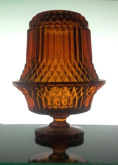 Fairy Lamp made by Indiana Glass in Amber Glass in the Cathedral Pattern. (AKA Diamond Point pattern sold by Princess House) Cut Glass, Clear Glass, Glass Art, Candle Jars, Candle Holders, Fairy Lamp, Tiffany Glass, Beautiful Candles, Indiana Glass