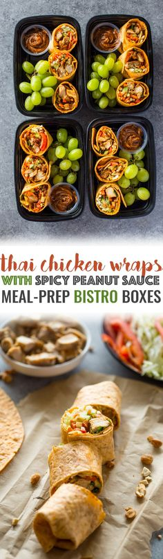 everydaymealprep Healthy Lunch or Dinner Recipes Thai Chicken Wraps Meal-Prep Bistro Boxes Lunch Meal Prep, Meal Prep Bowls, Healthy Meal Prep, Healthy Eating, Weekly Meal Prep, Dinner Meal, Lunch Time, Healthy Food, Lunch Snacks
