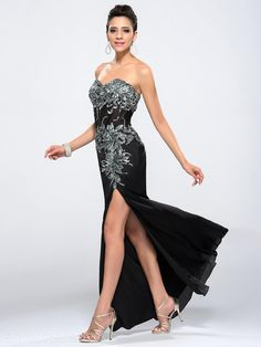 Attractive Sweetheart Split-Front Sequins Appliques Long Evening Dress