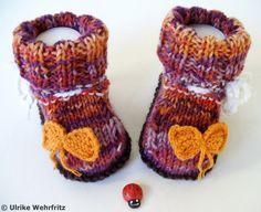 Strick- & Häkelschuhe - Babyschuhe warme 6-fach Wolle - ein Designerstück von strickliene bei DaWanda