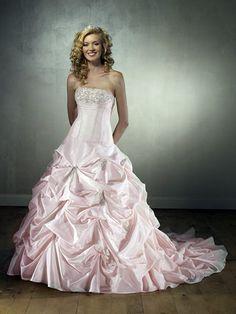 pink wedding dress | Cute Pink Ball Gown Strapless Taffeta Wedding Dress : MLWK14028 : $256 ...