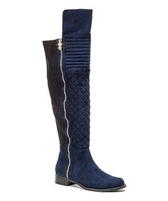 Loving this Navy Emma Over-the-Knee Stretch Boot on #zulily! #zulilyfinds