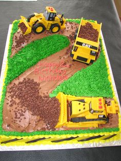 Digger cake idea. I think I'd use crumbled Oreos instead of choc chips for dirt though.