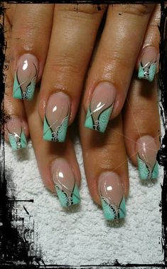 Mint colored nail art design