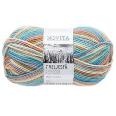Novita 7 Veljestä Multiraita Lanka Villasekoite 100 g, leipuri 883 Madness, Knitted Hats, The 100, Colours, Knitting, Free, Threading, Tricot, Breien