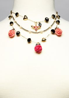 Betsey Johnson - rose petal necklace