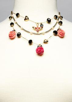 Betsey Johnson - rose petal necklace