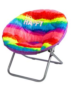 Faux Fur Rainbow Saucer Chair | Girls Room Decor Beauty, Room & Tech | Shop Justice