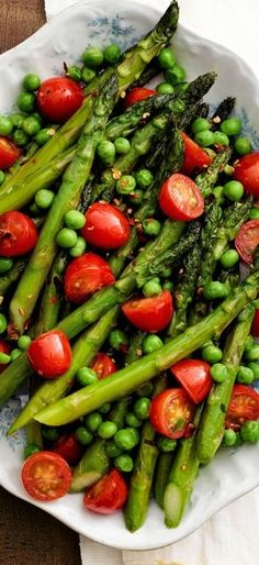 Asparagus Peas and Tomatoes with Herb Butter Recipe